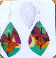 These earrings are made with silver and real pressed flowers