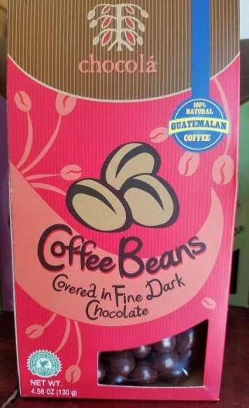 These locally grown coffee beans are covered with chocolate